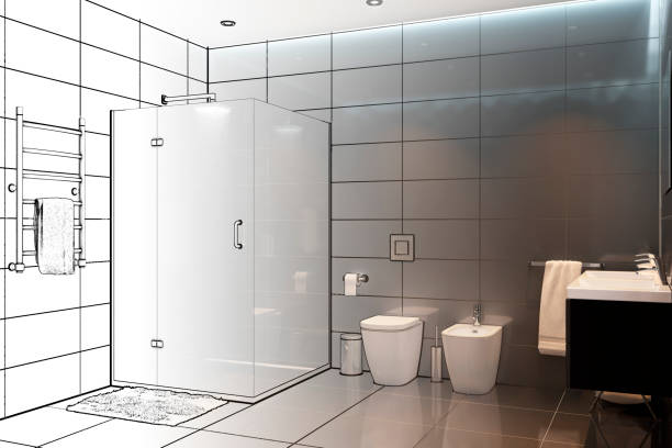 3d illustration. Sketch of the modern shower room